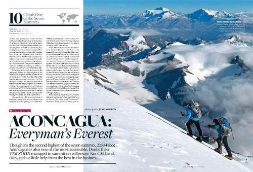 Men's Journal article on Aconcagua by Tim Sohn, with images by Jake Norton