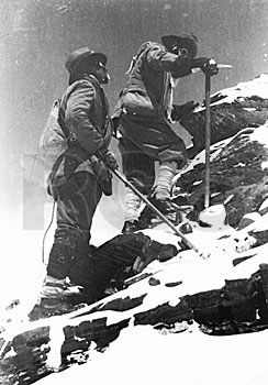 George Mallory and E.F. Norton approach their record setting high point of 26,985 feet on the north-east ridge of Mount Everest. T.H. Somervell, 1922.