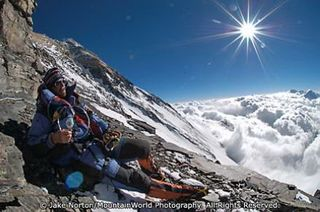 TD-EV-0667: Guide Dave Hahn en route to Camp VI on Mount Everest's Northeast Ridge Route, Tibet.