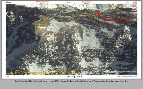 Jake Norton's search routes in May, 2004, high on Mt. Everest. Possible location of Andrew Irvine is marked as well in red.