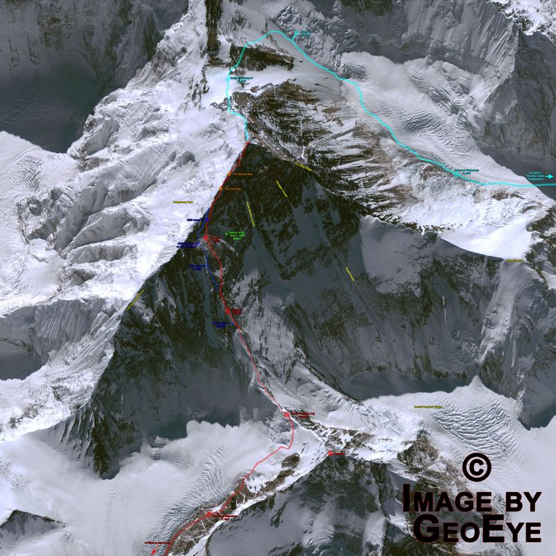 Everest aerial image from GeoEye - with features routes & notations