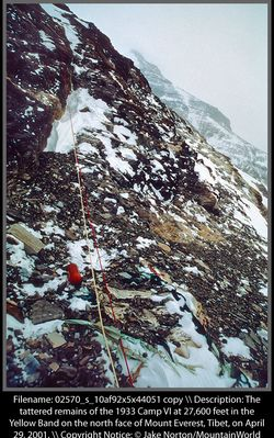 The tattered remains of the 1933 Camp VI at 27,600 feet in the Yellow Band on the north face of Mount Everest, Tibet, on April 29, 2001.