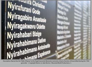 Names of the dead at the Genocide Memorial in Kigali, Rwanda
